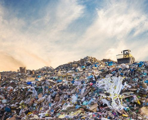 A waste landfill